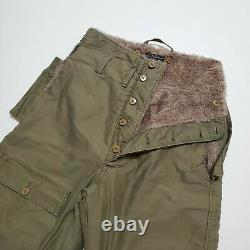 1940s Type A-9 Fur Lined Air Force USA ARMY Flight Pants Vintage Military WW2