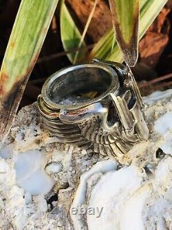 1942 WW2 US ARMY PIN COIN Ring Silver AIR FORCE Gunner Combat Wings Trench Art