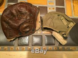 1942 WWII Era US Army Air Force B-5 Leather Flying Helmet Aviator + A-5 Cap Id'd