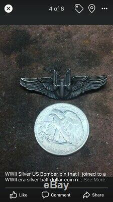 1943 WW2 Bomber PILOT PIN COIN Ring Silver Medal Officer Combat Army Air Force