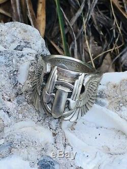 1943 WW2 US ARMY PIN COIN Ring Silver AIR FORCE Gunner Combat Wings Corp Biker