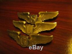 All3 Ww2 A. E. Co. Sterling Service, Liaison, & Glider Pilot Army Air Force Wings