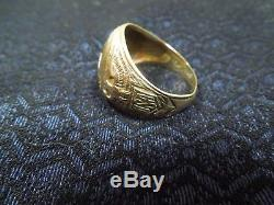 Early Rare Vintage WWII Army Air Corps Pilot's Ring USA Marked 10K Size 9.5