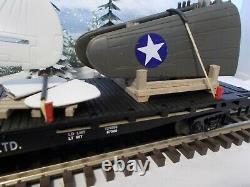 MTH ARMY AIR PLANE P- 40 WW2 WARHAWK NEW FLAT CAR O GAUGE NEW MENARDS asper