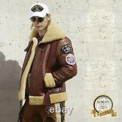 Men Bomber B3 WWII Pilot Wool Sheepskin Leather Air Force Flight Jacket USAF RAF
