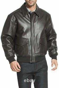Men's WWII U. S Air Force A2 Leather Flight Bomber Jacket