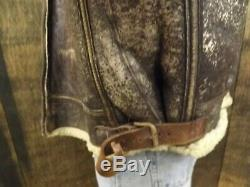 Orig Werber Leather Shearling WWII Army Air Forces B-3 Pilot Bomber Jacket 40R