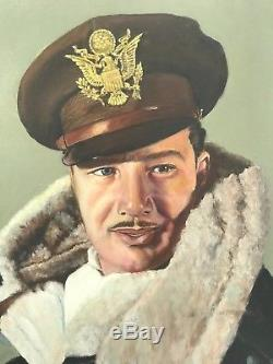 Original Oil Painting Of WWII US Army Air Corps Officer