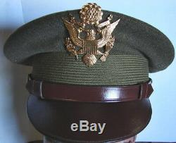 Original WW2 US Army Air Corps Officers Visor Hat -McClellan Field withExtra Cover