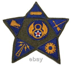 Original WWII USAAF U. S. ARMY 8th AIR FORCE & SPEC PATCHES ON WWII WOOL BLANKET