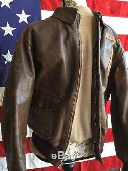 Original WWII US Army Air Corp A-2 Leather Flight Or Bomber Jacket Aero Co