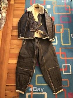 Original WWII US Army Air Corps B-6 Strap Sided Leather Flight Jacket Pants B-3