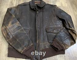 Original WWII US Army Air Force Type A2 Leather Flight Jacket Bomber 38