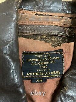 Original WWII US Army Air Force Type A2 Leather Flight Jacket size 38
