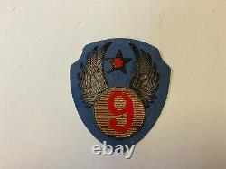 Pk463 Original WW2 US Army Air Force 9th AF Patch Bullion Blue Wool WA10