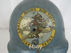 RARE WW2 Blue Laredo Army Air Field Gunnery School Liner Helmet K-2 with Decal