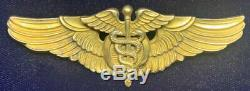 RARE WWII Army Air Corps 3 in Gold Fill Sterling Flight Surgeon Wings AMICO PB