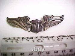 Rare Amcraft Wwii Army Air Corps Pilot Wings Sterling Full Size Pin Back