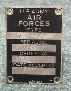 Rare Original Unused WWII Era US Army Air Forces Aircraft Airplane Data Plate