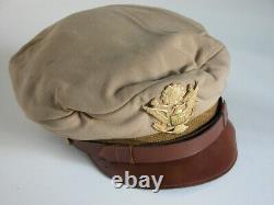 Rare Original WW2 US Army Air Forces Real Crusher Khaki Visor Cap w Short Bill