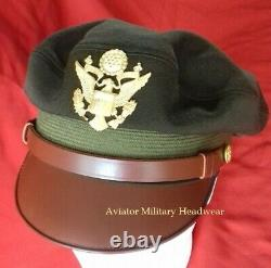Repro WW2 Officer's Elastique Visor Crusher Cap Hat OD51 USAAF Army Air Force
