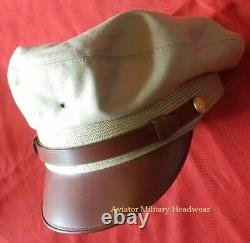 Repro WW2 USAAF Air Force Officer Crusher Cap Hat Flighter Style 100% Wool Khaki