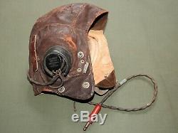 US Army AAF WW2 8TH AIR FORCE FIGHTER PILOT BRITISH WIRED TYPE C FLIGHT HELMET