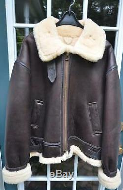 US Army Air Force WW2 Style B-3 Leather Sheepskin Bomber Jacket AC-18604! LARGE