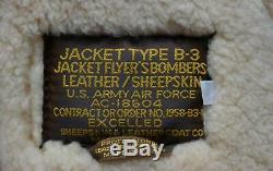 US Army Air Force WW2 Style B-3 Leather Sheepskin Bomber Jacket AC-18604! LARGE