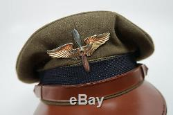 US Officer visor cap dress uniform jacket hat Army Air Force corp WWI WWII cadet
