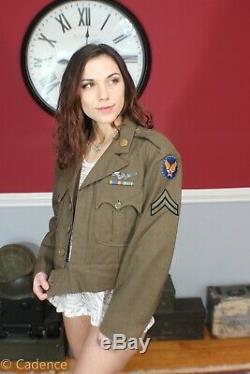 US WW2 Beautiful Army Air Corps Cut Down Ike Jacket Sterling Wing Named NICE J85
