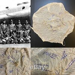 US WWII B-29 BOMBER CREW PILOT CHUTE ARMY AIR CORP SIGNED BY CREW USAAF Relic