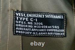 Us Army Air Force Emergency Sustenance Vest Type C-1, Wwii, Ww2, Excellent Cond