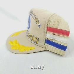 VTG United States Army Air Corps WWII Gold Leaf 3 Stripe Hat Cap Snapback