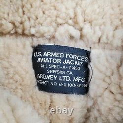 VTG WWII US Army Air Force B-3 Shearling Leather Bomb Aviator Ardney Jacket 42