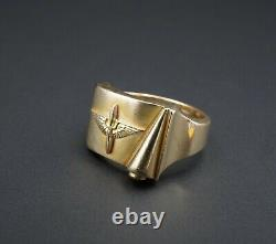 Vintage 10k Yellow Gold WWII Army Air Corps Ring Size 10 Propeller Wings RG2426