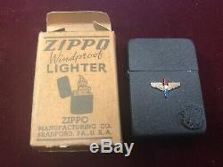 Vintage 1942 Zippo WWII Black Crackle 4bbl hinge 14 hole insert (Army Air Corps)