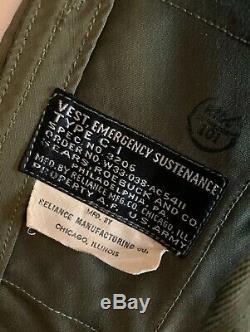 Vintage 40s WWII US Army Air Corp Emergency Sustenance Survival Vest Type C-1