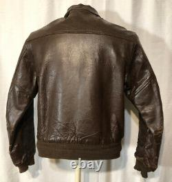 Vintage A2 US AAF WWII Leather Army Air Forces Bomber Jacket Sz40 Crown Zipper