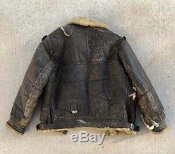 Vintage B3 Leather Flight Bomber Shearling Jacket US Army Air Force WW2 B-3