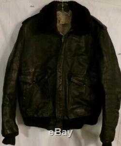 Vintage Flight Jacket Leather Us Military Sz 44 Schott Ny Mfg Ww 2 Army Air Corp