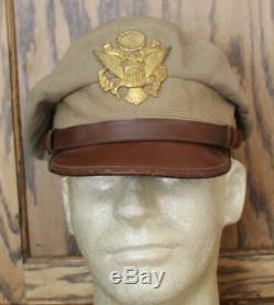 Vintage Original Wwii Us Army Air Force Usaaf Officer's Kakhi Crusher Summer Hat