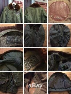 Vintage WWII USAAF US ARMY AIR FORCE B-15 Flight Flying Withleather Patch Jacket