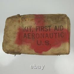 Vintage WWII US Army Air Force Aeronautic First Aid Kit Canvas with Contents WW2