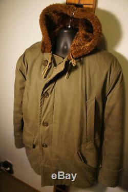Vintage WWII US Army Air Force B-9 PARKA Vtg Cold Weather Jacket Military o52