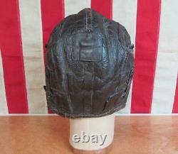 Vintage WWII US Army Air Force Type B-5 Leather Flying Helmet Aviators Cap Sz. L