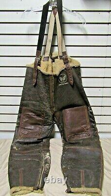 Vintage WWII US Army Air Forces Type B-1 Leather Bomber Trousers Medium 1943 AAC