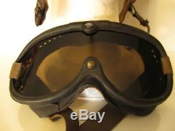 Vintage WWII WW2 US Army Air Force Pilot Leather Flight Helmet With Goggles XL