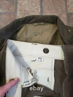 Vintage Wwii Ww2 Us Army Air Corps Officer Dress Jacket Coat 39i & W34 L33 Pants