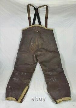 Vtg WW2 US Army Air Forces Type B-1 Leather Bomber Trousers Flight Pants Med 43